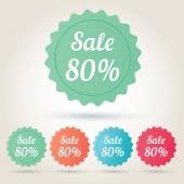 Vector sale 80 per cent badge sticker — Stockvector