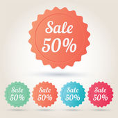 Vector sale 50 per cent badge sticker — Stockvector
