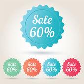 Vector sale 60 per cent badge sticker — Stockvector