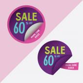 Two round stickers with 60 per sent discount and promo code for web site, for web banners. — Stok Vektör