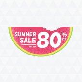 夏季大减价 80%了。矢量三角形背景与西瓜 — 图库矢量图片