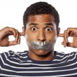 Closed ears and tape over mouth — Stock Photo #69918641