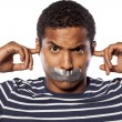 Closed ears and tape over mouth — Stock Photo #69918657