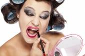 Hair curlers and bad make up — Stock Photo