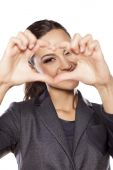 Heart shape with fingers — Stock Photo