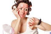 Curlers and face mask — Stock Photo