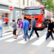 Busy city street people on zebra crossing — Stock Photo #52154393