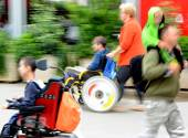 Blurred movement of disabled — Stock Photo