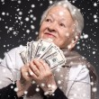 Old woman holding money in hands — Stock Photo #58115747