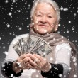 Old woman holding money in hands — Stock Photo #58115749