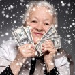 Old woman holding money in hands — Stock Photo #58115751