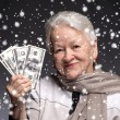 Old woman holding money in hands — Stock Photo #58115759