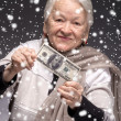 Old woman holding money in hands — Stock Photo #58115787