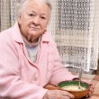 Old woman eating at home — Stock Photo #62153885