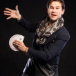Young magician with cards — Stock Photo #64665793
