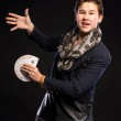 Young magician  with cards — Stok fotoğraf #64665793