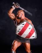Przystojny mięśni starożytnego wojownika — Zdjęcie stockowe