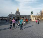 Fishermen's Bastion on Buda hill in Budapest APRIL 12, 2015 — Stock Photo