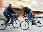 Dangerous bicycle traffic situation — Stock Photo