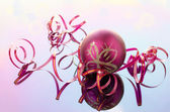 Narrow pink and ball ribbon for decoration — Stock Photo