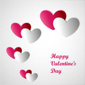 Valentines Day card with line of cut paper hearts — Stock vektor