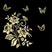 Elegance  pattern with flowers narcissus on black background — Vetor de Stock