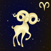 Sign of the zodiac Aries is the starry sky — Stock Vector