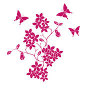 Twig cherry blossoms and butterflies — Stock Vector