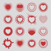 16 hearts — Stock Vector
