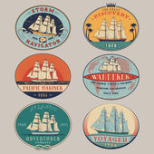Nautical labels color — Stock Vector