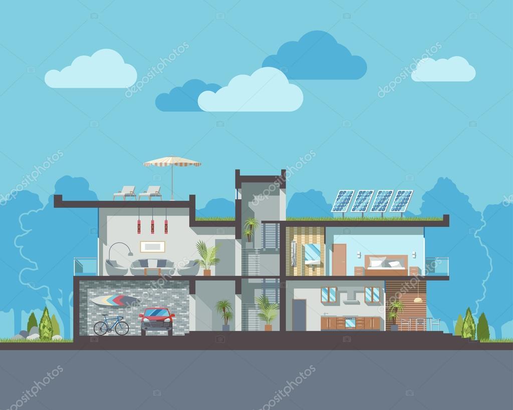 Modern house section — Stock Vector © daseugen #68444383 - ^