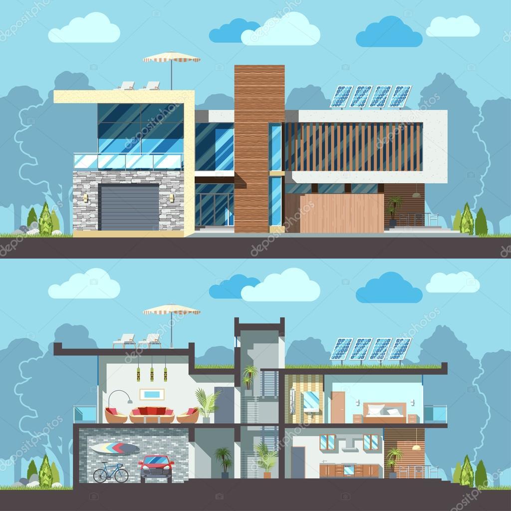Secci n de fachada de casa moderna vector de stock for Casa moderna vector