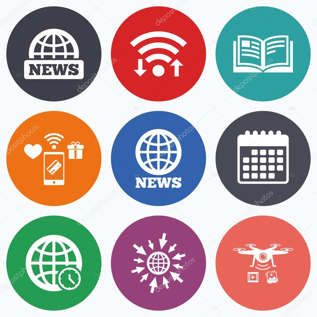 news icons world globe symbols book sign stock vector wifi mobile payments and drones icons news icons world globe symbols open book sign education literature calendar symbol vector by blankstock