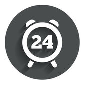 24 hours time sign icon. Clock alarm symbol. — Stock Vector