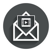 Video mail icon. Video frame symbol. Message. — Stock Vector