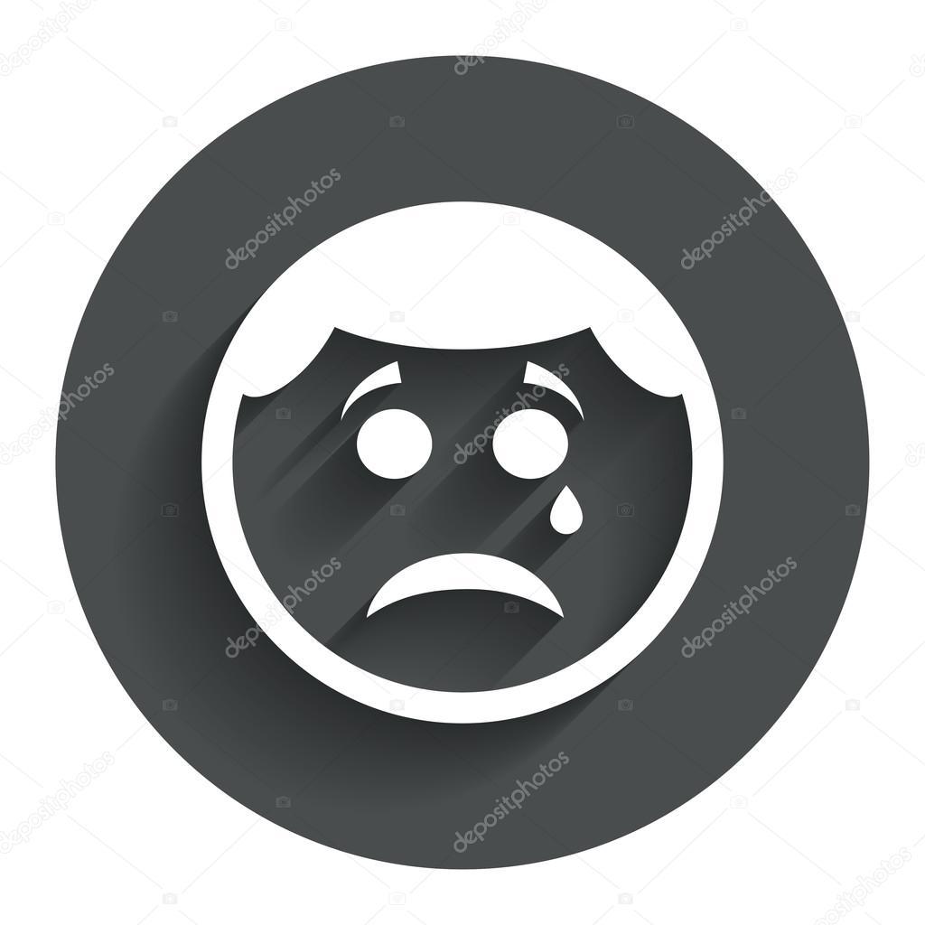 Cara triste con el icono de signo lágrima. símbolo de chat llorando. botón  círculo con sombra. interfaz de usuario moderna navegación web.