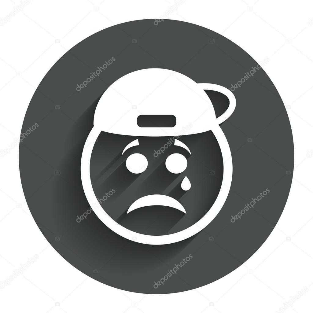 Cara triste rapero con el icono de lágrima. símbolo llorando \u2014 Archivo  Imágenes Vectoriales