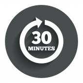 Every 30 minutes sign icon. Full rotation arrow. — Stock Vector