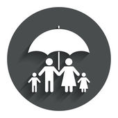 Complete family insurance icon. Umbrella symbol. — Vettoriale Stock
