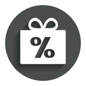 Gift box sign discount icon. Present symbol. — Stock Vector