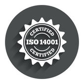 ISO 14001 certified sign. Certification stamp. — Stock Vector