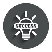 Light lamp sign icon. Bulb with success symbol — Vetor de Stock