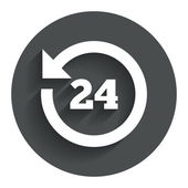 24 hours customer service. Clock support. — Stock Vector