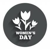 8 March Womens Day sign icon. Flowers symbol. — Stock Vector