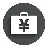 Case with Yen JPY sign. Briefcase button. — Vector de stock
