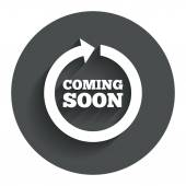 Coming soon icon. Promotion announcement symbol. — Stock Vector