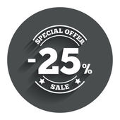 25 percent discount sign icon. Sale symbol. — Vecteur