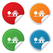 Home sign icon. House with tree symbol. — Stock Vector