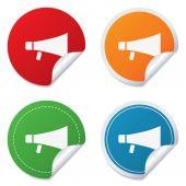 Megaphone soon icon. Loudspeaker symbol. — Stock Vector