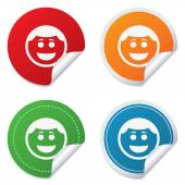 Smile face icon. Smiley with hairstyle symbol. — Stock Vector